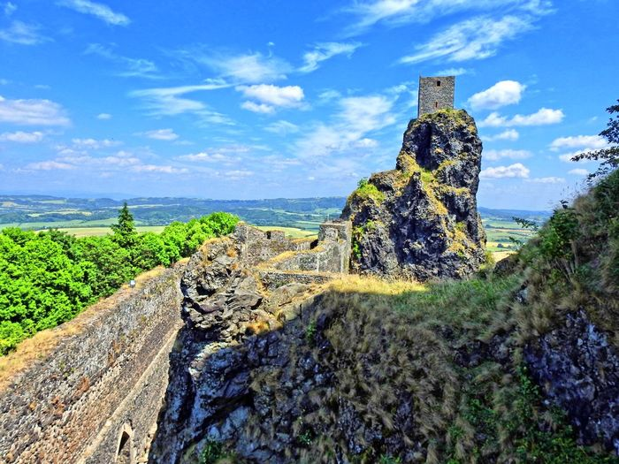 Panoramic view of old ruins against sky