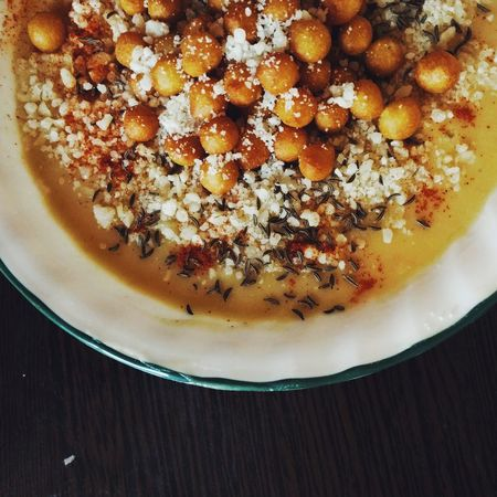 Lentil Creamsoup Home Made Food Crutons Parmesan