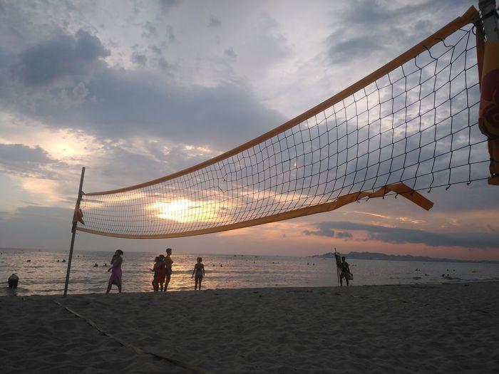 August Sunset August Sunset Nature Beach Volleyball Water Sea Sunset Beach Full Length Sand Power In Nature Wet Sky Volleyball - Sport Seascape