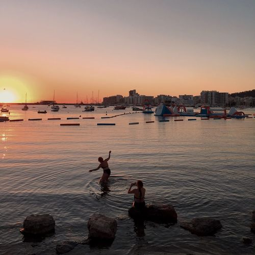 Enjoying the sunset Ibiza Seaview Summertime Beauty In Nature Found On The Roll 97% The Journey Is The Destination Sunset Coast Line  The Essence Of Summer What's On The Roll People Photography