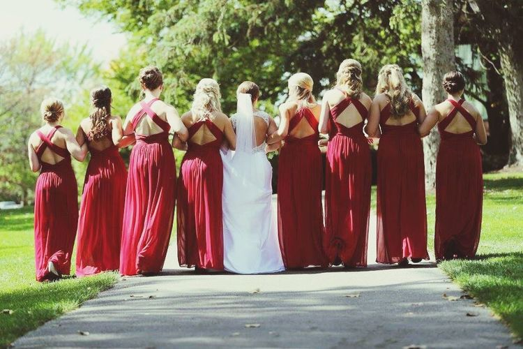 Wedding Bride Life Events Red Wedding Dress Full Length Wedding Ceremony Togetherness Women Tree Outdoors Adults Only
