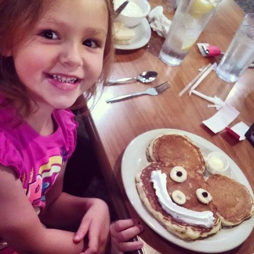 What better way to Start a day than Mickey Mouse Banana and whipped cream pancakes?