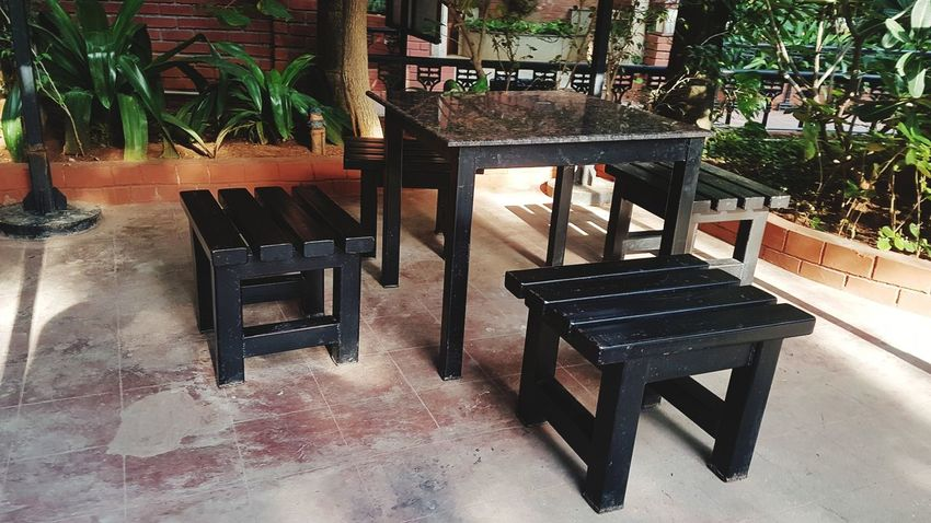 Furniture Chair Table Outdoor Cafe Potted Plant Canopy Wooden