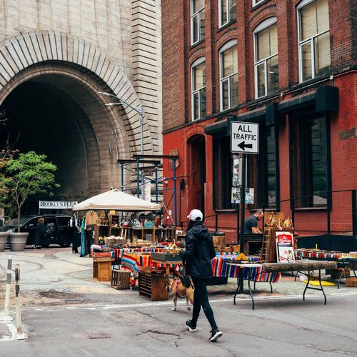 Dog Walking Architecture Building Exterior One Man Only Built Structure One Person Real People Adult Day Outdoors Adults Only Occupation Standing People City DUMBO New York Brooklyn Streetphotography Street Photography