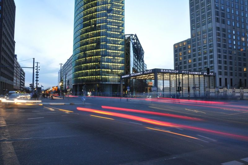 Moving Traffic Photography In Motion Streetphotography Blue Hour Potsdamer Platz Berliner Ansichten Berlin Dusk In The City Cities At Night