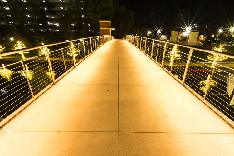 Illuminated railing at night
