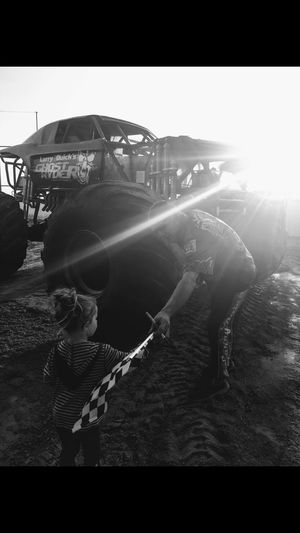 Monster Trucks Checkered Checkered Flag Little Girl Role Model Sun Burst Tires Mud Monster Truck Sky