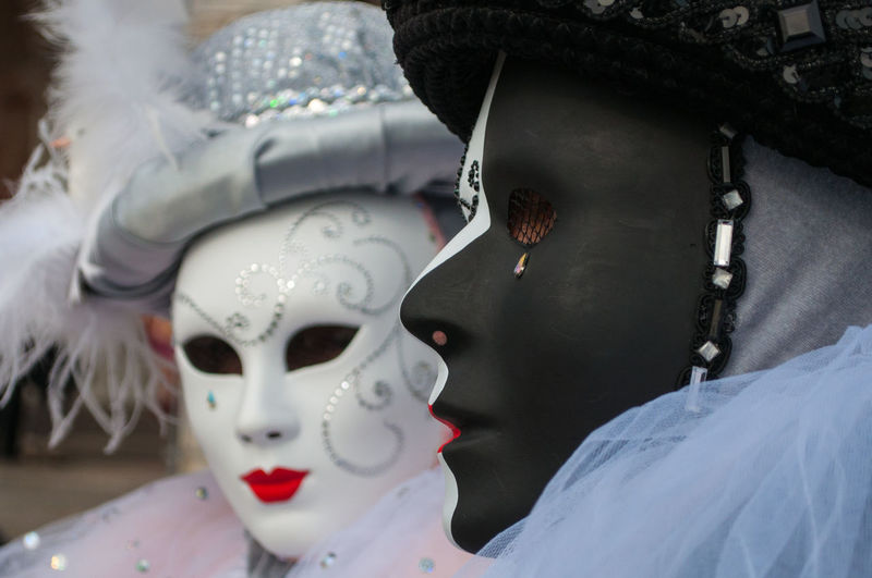 Close-up of mask against white background