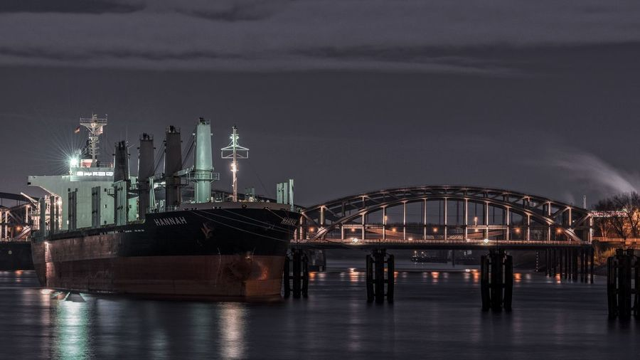 Hannah Bridge Bulkcarrier Cloud Cloud - Sky Cloudy Hamburg Harbour Illuminated Modern Night Night Photography No People Norderelbe Outdoors River Ship Sky Water Water Reflections Weather