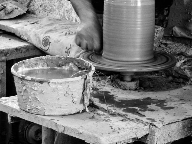 With his hands Fine Art Eyem Gallery Showing Work In Motion Making Art Cropped Person EyeEm Gallery Vessel Vase Terracotta Handmade Art Man At Work Black And White Black And White Photography Close Up Travel Up Close Street Photography Pottery Daily Life Working Place The Color Of Business Monochrome Monochrome Photography Black And White Friday Business Stories