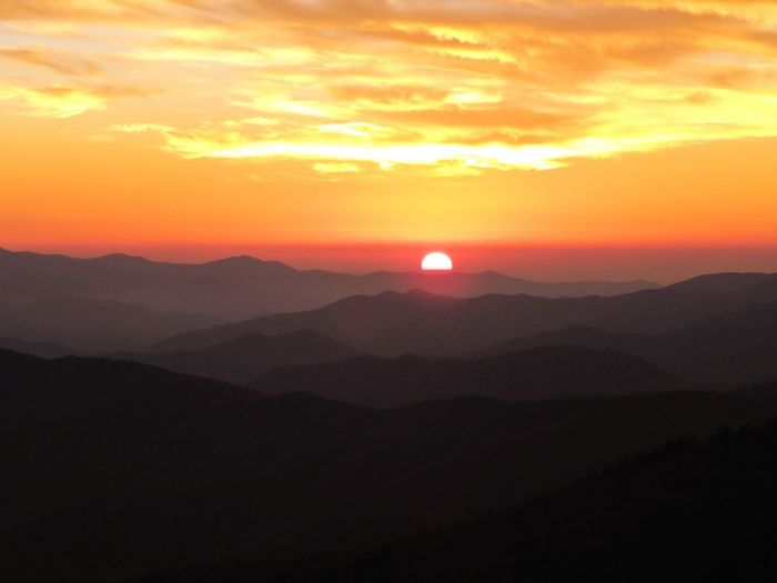 Sunset from Clingmans Dome , Great Smoky Mountains National Park , Tennessee . October 2014. Blue Ridge Mountains Mountain Landscape
