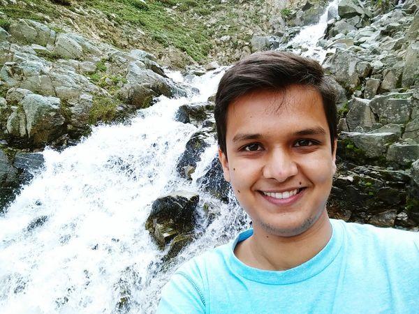 Self Portrait Messy Hair Waterfall Rocks Mountain Happy Love Travel OpenEdit Kashmir