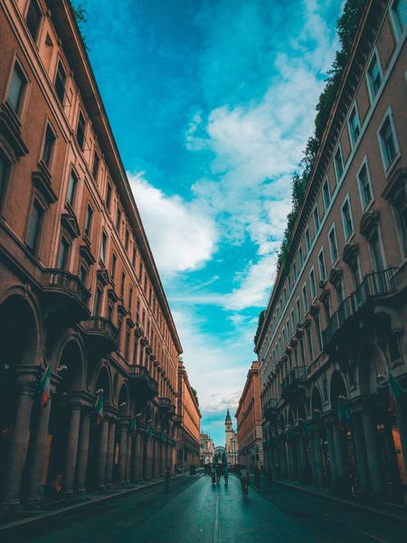 Via Roma ☀️ Architecture Building Exterior Sky Built Structure Cloud - Sky City Nature Building Day Street Incidental People The Way Forward Outdoors Direction Residential District Blue Travel Destinations Diminishing Perspective Arch History