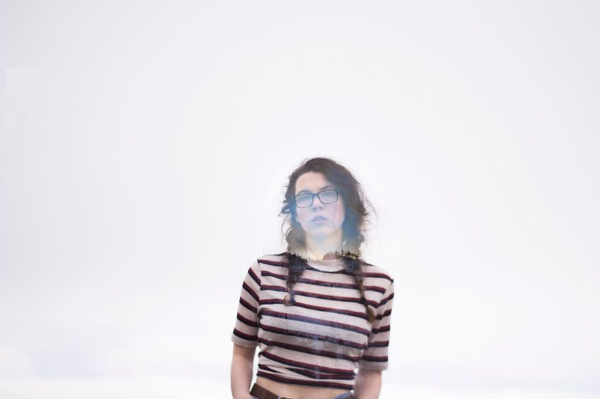 Copy Space One Person Striped Studio Shot Front View Portrait One Woman Only Eyeglasses  Adults Only Young Adult Uniqueness EyeEmNewHere Women Beauty Creative Art Photoshop Double Exposure Girl White Background Only Women Horn Rimmed Glasses Adult One Young Woman Only Day