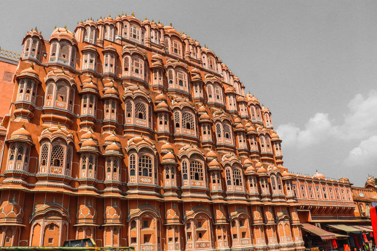 Low angle view of building against sky hawa mahal