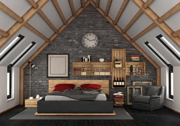 Bed Architecture Armchair Beams Bedroom Ceiling Clock Domestic Room Electric Lamp Furniture Home Home Interior Home Showcase Interior Indoors  Lighting Equipment Luxury Mansard Mansard Roof Time Wall - Building Feature Window Wood - Material Wooden Crate