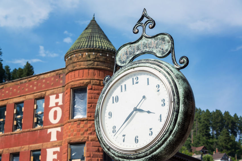Old historic clock in the old west town of Deadwood, South Dakota Architecture Bar Black Hills Brick Casino Clock Clock Face Deadwood  Downtown Historic Hotel Old West  Restaurant Sky South Dakota Tavern  Time Tourism Tourists Town Travel Travel Destinations USA Western Wild West