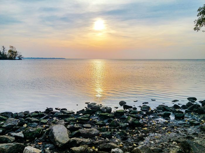 Sunset Sea Water Reflection Sky Nature Beauty In Nature Outdoors Scenics Dramatic Sky Horizon Over Water Beach Tree No People Landscape Day