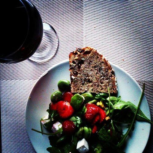 Strawberries Salad Dinner Redwine Handmade Polishhome Delicious Summerfood