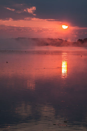 Beach Beauty In Nature Cloud - Sky Day Fog Foggy Foggy Morning Horizon Over Water Nature No People Orange Color Outdoors Reflection Scenics Sky Sun Sunset Tranquil Scene Tranquility Water