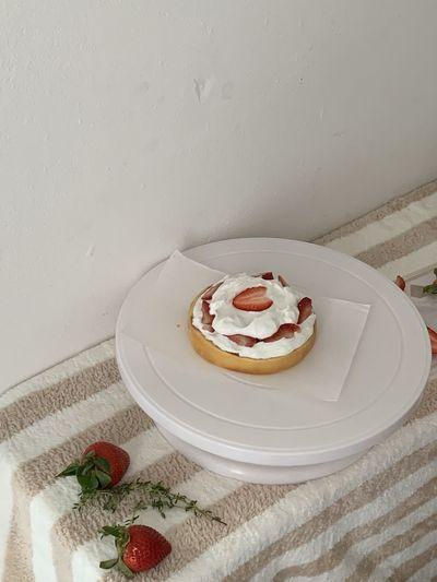 High angle view of cake on plate
