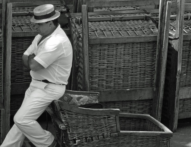 Basket Black And White Casual Clothing Day Madeira Men Occupation One Person Outdoors People Real People Standing Tourism Travel Wicker Working