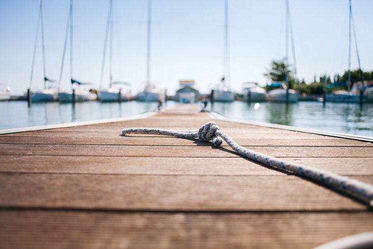 Harbour View Balaton Clear Sky Close-up Mode Of Transportation Nature Nautical Vessel Rope Sailboat Sailing Sea Selective Focus Transportation Water Wood - Material Yacht