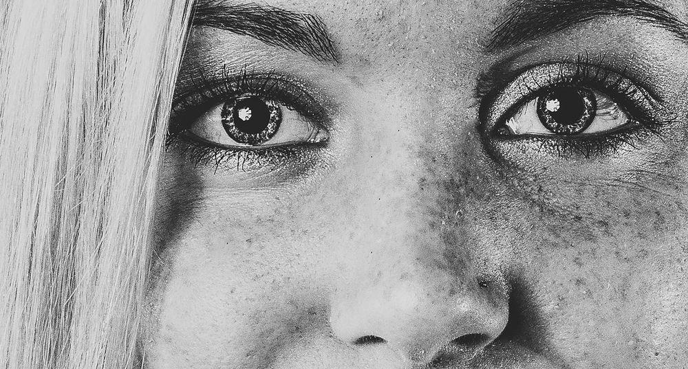 Adult Beautiful People Beautiful Woman Beauty Black And White Blackandwhite Close-up Day Eyeball Eyebrow Eyelash Human Body Part Human Eye Human Face Indoors  Looking At Camera One Person People Portrait Real People Young Adult Young Women Freckles
