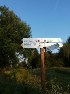 Guidance Text Communication No People Day Direction Outdoors Close-up Wilderness Nature Road Sign Sky Tree Mountain Clear Sky Feldrom Horn-Bad Meinberg Teutoburger Wald Eggeturm Kreis Lippe Sandebeck Wanderrouten Velmerstot Kempenfeldrom Aussichtsturm