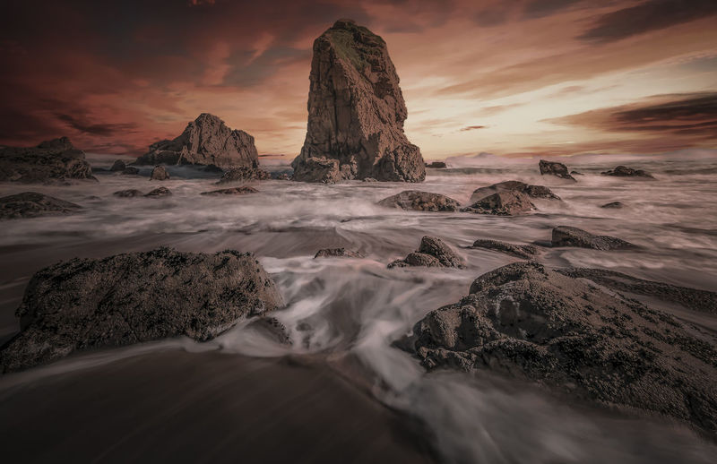 Beach Beauty In Nature Cloud - Sky Land Long Exposure Motion Nature No People Rock Rock - Object Rock Formation Scenics - Nature Sea Sky Solid Sunset Tranquil Scene Tranquility Water