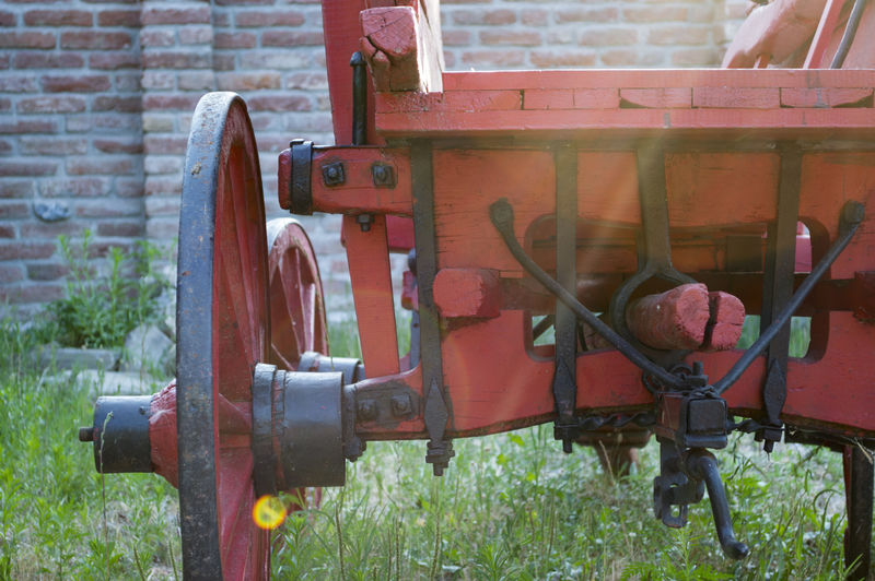 Close-up Day Factory Grass Locomotive Machinery Metal No People Oil Pump Outdoors Red Technology Valve Wheel