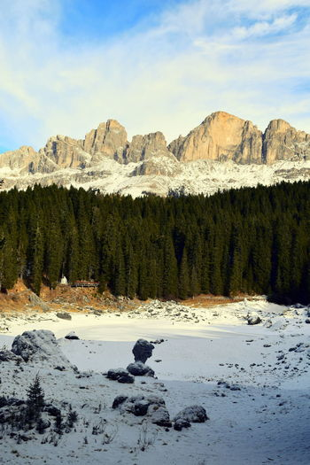 Catinaccio Cold Cold Temperature Geology Italy Lake Lake Carezza Landscape Mountain Mountain Range Mountain View Nature Nova Levante Physical Geography Rock Rock Formation Rocky Rocky Mountains Rosengarten Scenics Snow South Tyrol Tranquil Scene Tranquility Winter