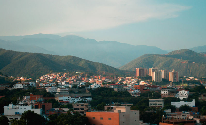 View Of Town In Mountains