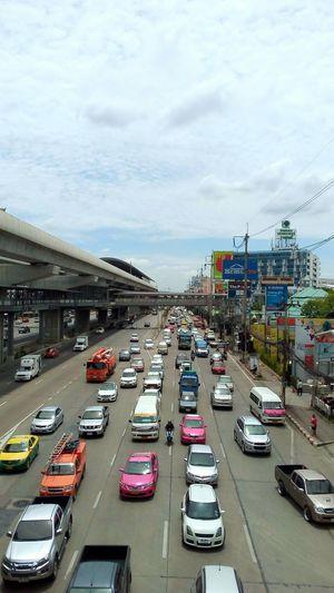 Nontaburi Car Traffic Transportation High Angle View Land Vehicle Street Mode Of Transport City Road Outdoors