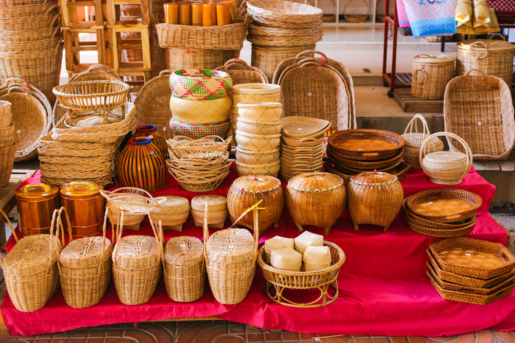 Various displayed for sale at market stall