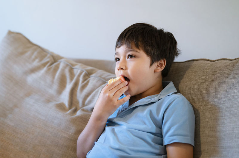Portrait of boy relaxing on sofa at home