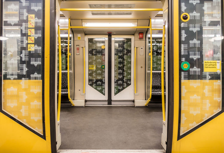 Open doors of subway train