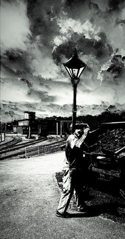 Train Station Steam Locomotive Steam Trains Train Tracks Train Line CoalWorkman Lamp Lamppost Clouds And Sky Sky Skyline Clouds Skyporn Bnw Bnw_collection Bnw_captures Bnwphotography Bnw_life Bnw_society Blackandwhite Black And White Blackandwhite Photography Black & White Me, My Camera And I