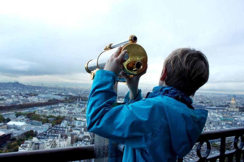 Architecture One Person Rear View Outdoors Day Paris, France  Tour De Eiffel Tourist Attraction  City Child