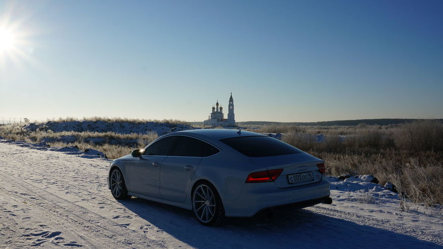 Audi A7 Car Clear Sky Cold Temperature Day Land Vehicle Nature No People Outdoors Sky Snow Sunlight Transportation Winter