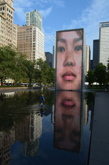 Chicago Contemplation Reflection Water Reflections Face Kid Real People