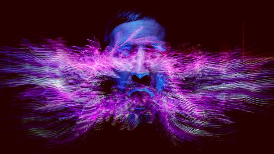 Face Portrait Strange Floating Airborne Cild Blue Purple Flow  Face Technology Galaxy Wireless Technology Studio Shot Science Futuristic Communication Pixelated Close-up Dissolving Exploding Light Painting Long Exposure