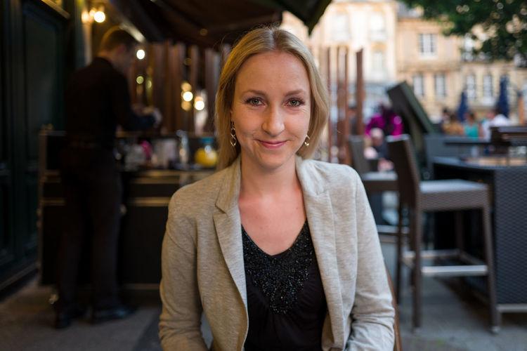 Portrait Of Beautiful Woman At Restaurant