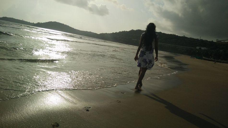 Beach Walk At Sunset One Woman Only Beach Nature Cloud - Sky First Eyeem Photo