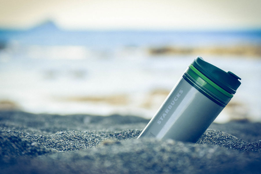 Beach Photography Beverage Drinks Food And Drink Starbucks Coffee Travel Beach Close-up Day Outdoor Photography Outdoors Sand & Sea Starbucks Tumbler Water