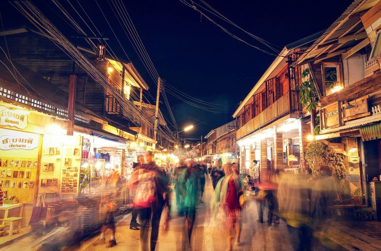 Night Illuminated Blurred Motion Architecture City Street City Life City Lighting Equipment Street Building Exterior Built Structure faLarge Group Of People Motion People Market Nightlife Crowd Thailand Travel Chengkan Loei Walking Tourism Favorite