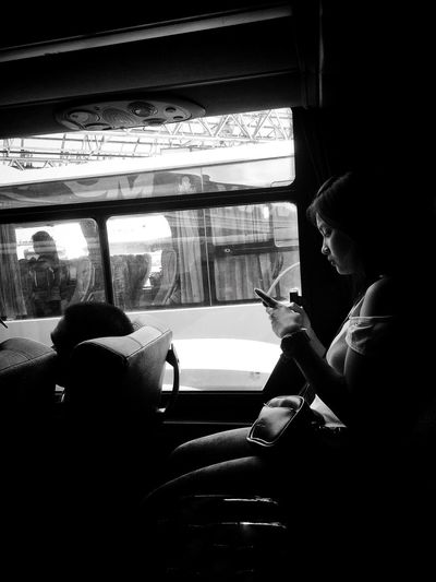 Bus Girl women around the world Women Blackandwhite Vehicle Interior Mode Of Transportation Transportation Real People Sitting One Person HUAWEI Photo Award: After Dark Travel Land Vehicle Window Public Transportation