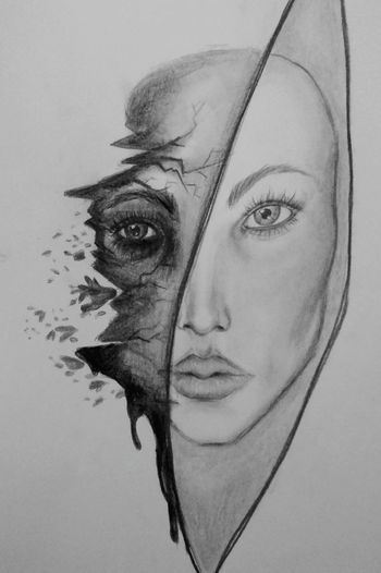 Drawingtime My Drawings Half Face Portrait Drawing Pencil Drawing In My Mouf Love This