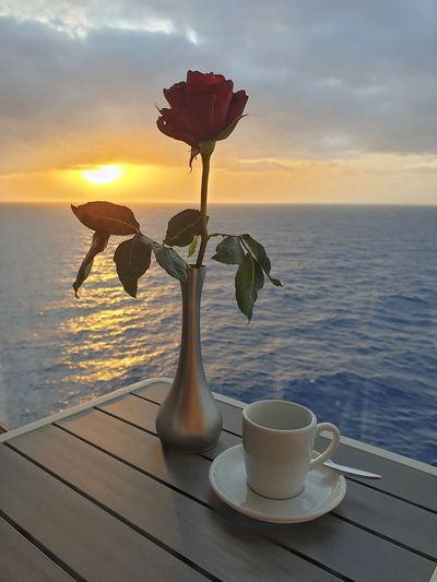 Flower vase on table by sea against sky during sunset