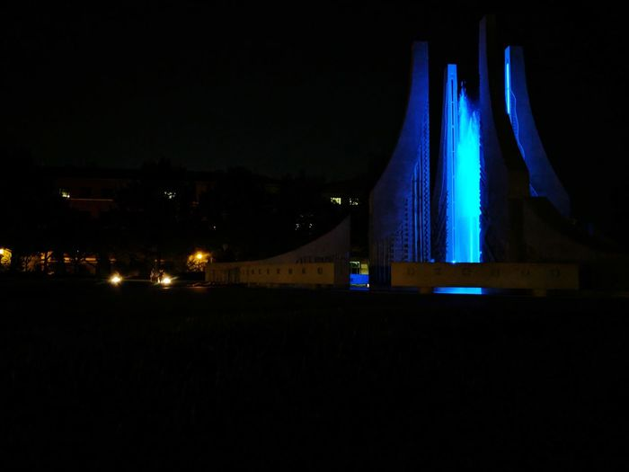 Night Illuminated Architecture City Arts Culture And Entertainment No People Travel Destinations Nightlife Light Beam Outdoors Cityscape Sky Fountain Purdue Engineering Engineering Fountain Indiana